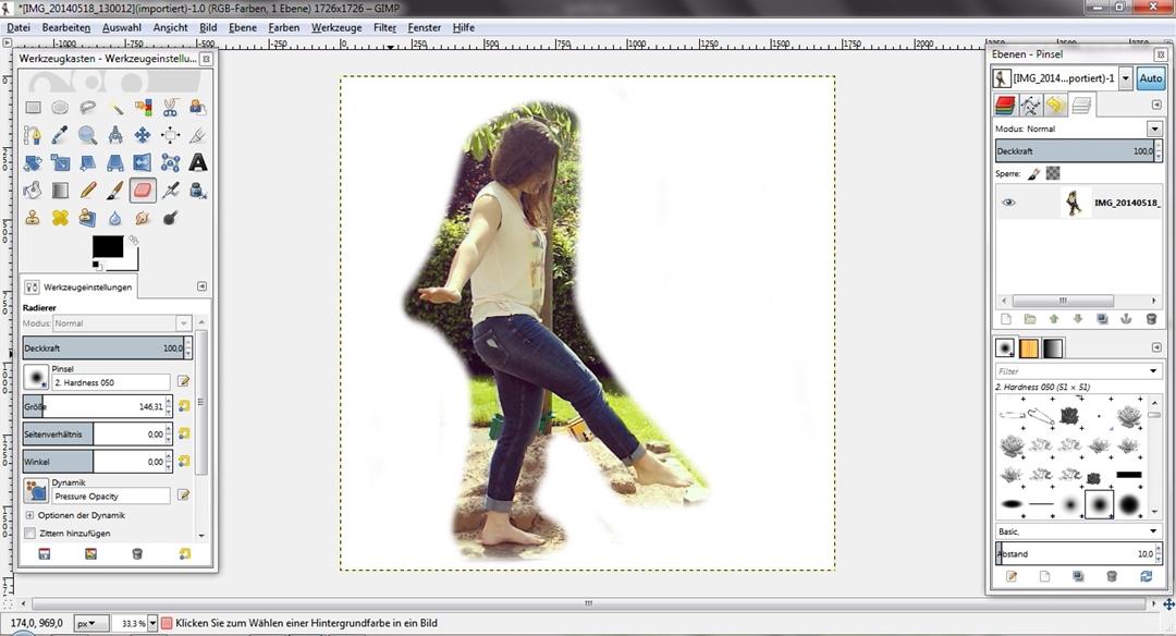Schritt 2 - Hintergrund radieren