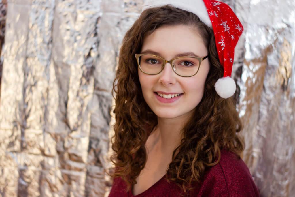 Weihnachtliche Portraits mit Rettungsdecke in silber Negativ Beispiel